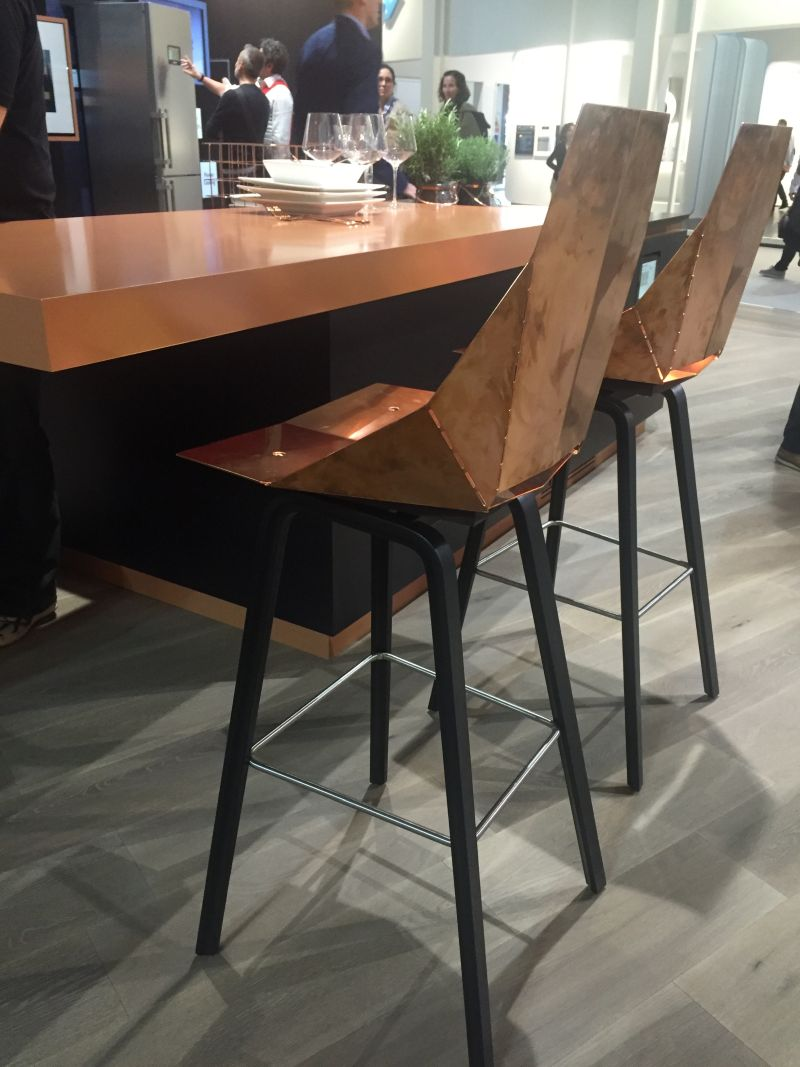 Copper chairs for kitchen bar