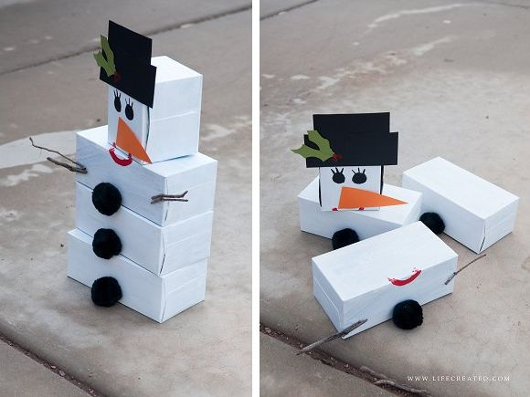 Creative Christmas Snowman from Cardboad boxes