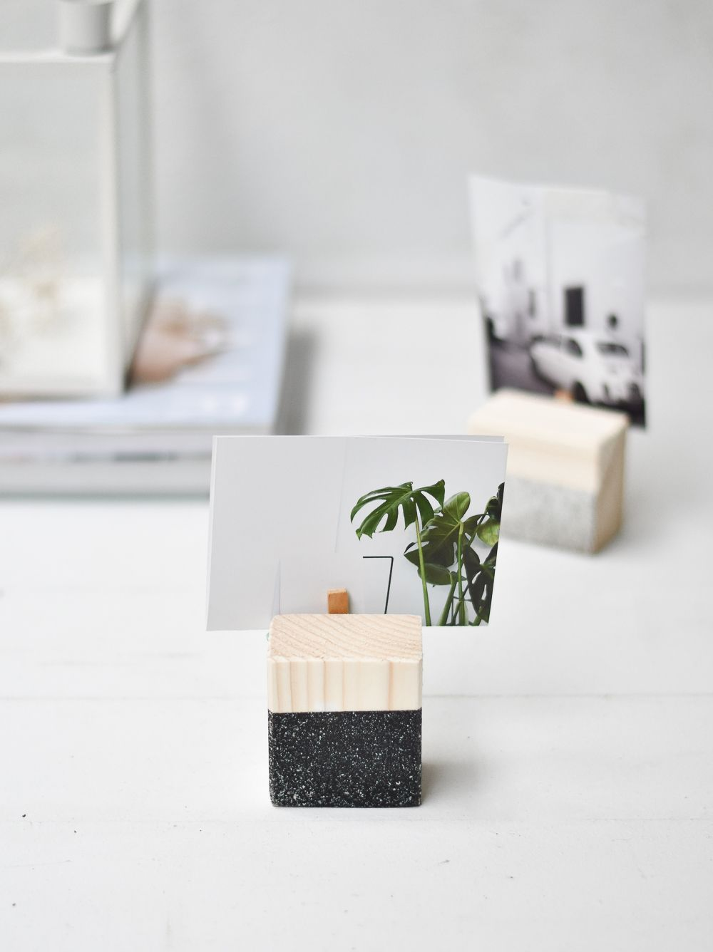 DIY Geometric Photo Holders for Desk