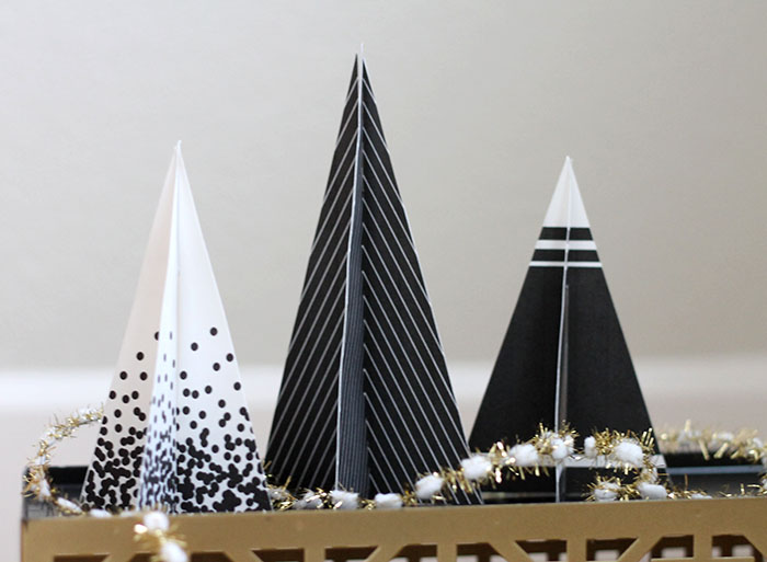 DIY patterned paper trees