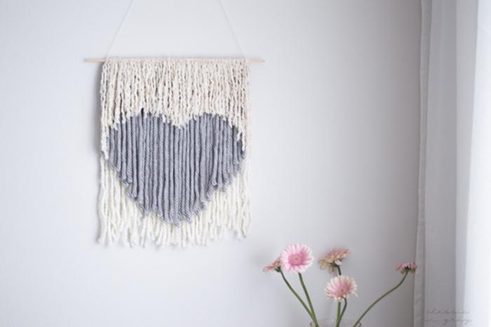 DIY woven heart art
