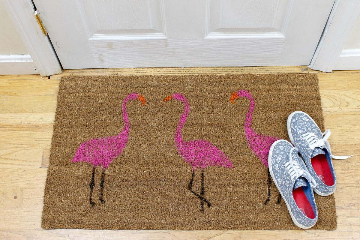 Fun and funky stenciling makes for a cute carpet.