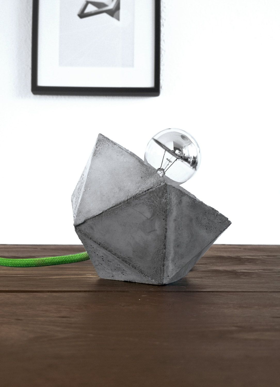 Geometric desk concrete lamp