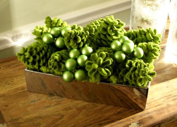 Green centerpiece for Holiday Table