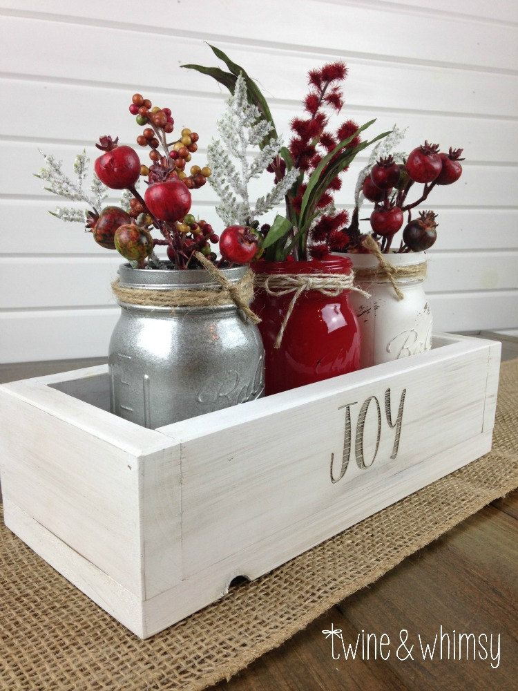 Holiday decor, Rustic centerpiece, Wood box