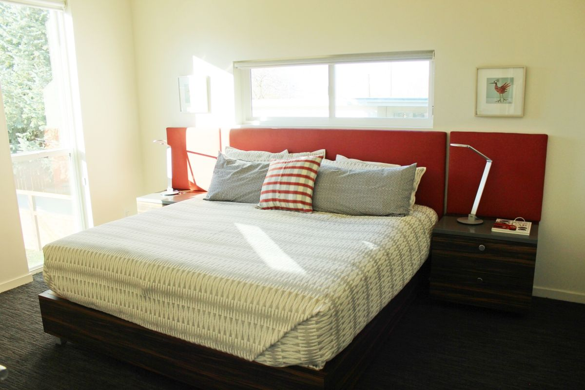 Master Bedroom with Red Headboard