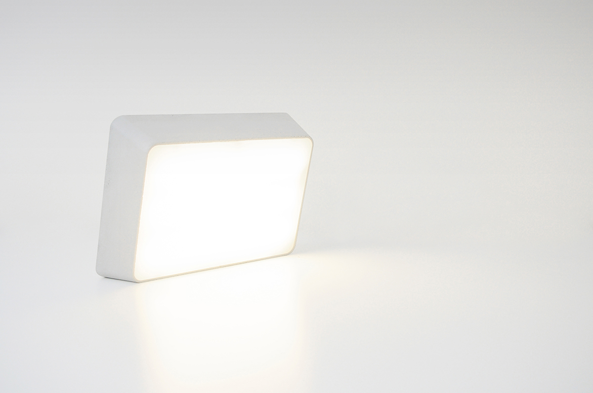 Minimal Brick Lamp from Concrete for Desk Also