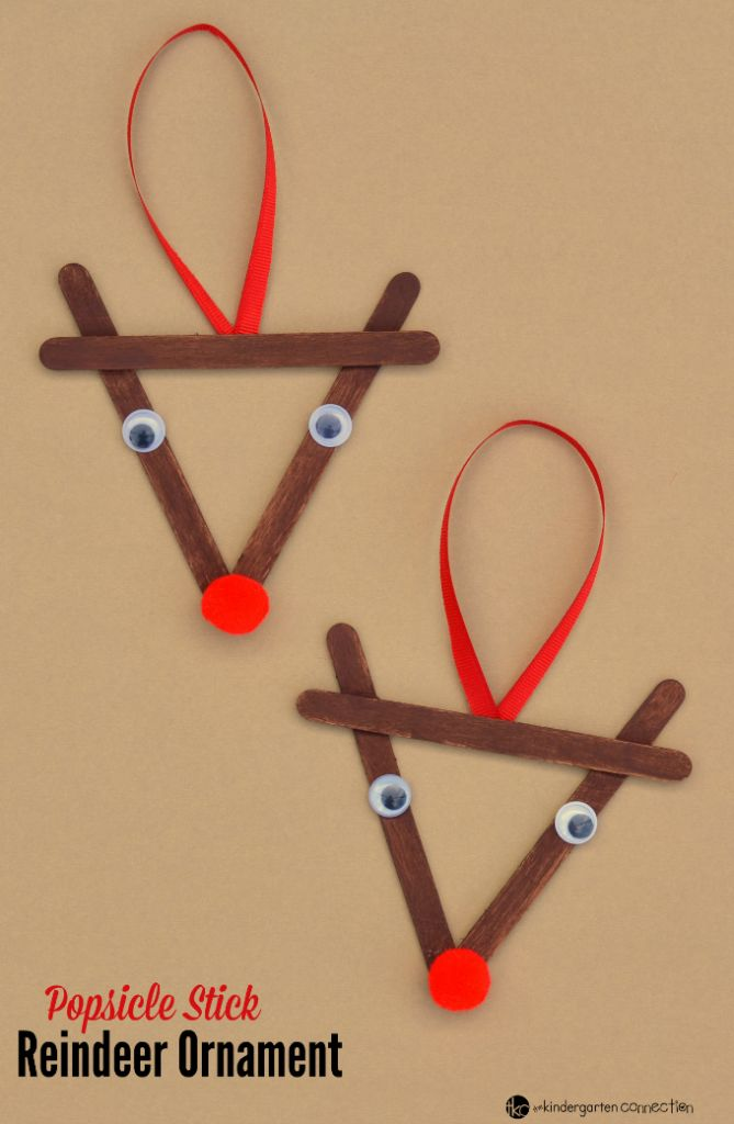 Popsicle Stick Reindeer Kid Christmas Ornament