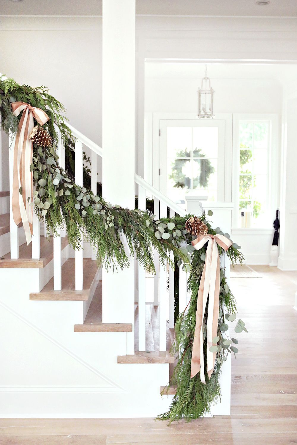 Rose quartz stair garland