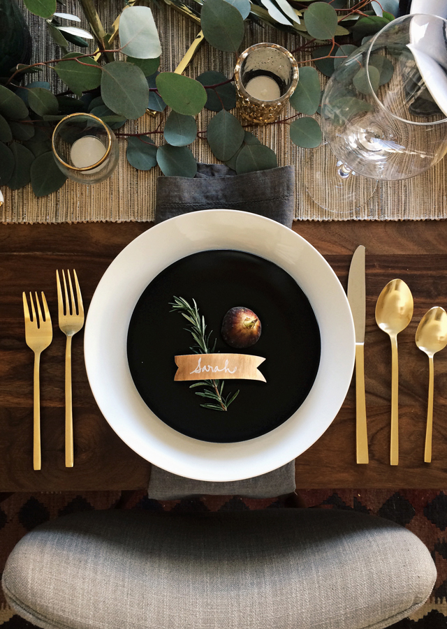 Thanksgiving - black and white plates with golden utensils