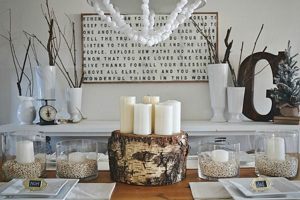 Tree Stump Christmas Table Centerpiece