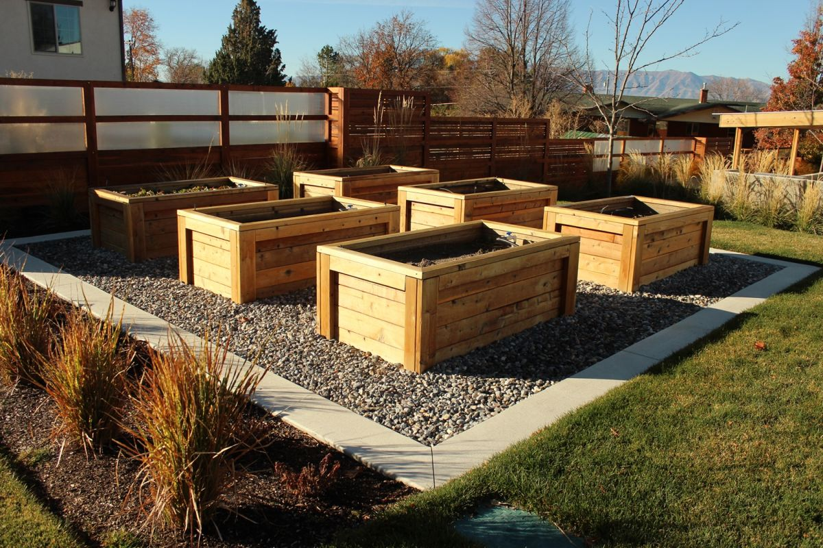 Wooden planters for garden
