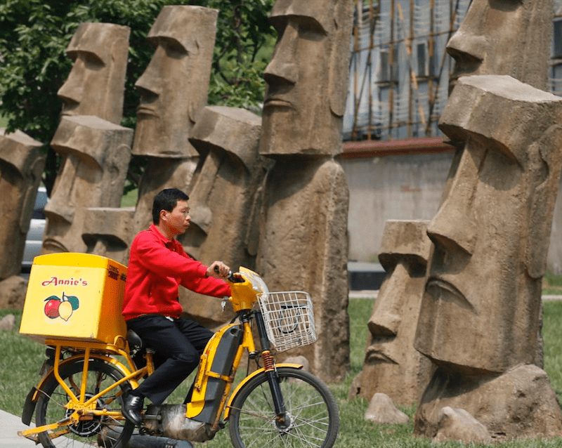 Copies of the Moai statues of Easter Island found in Beijing