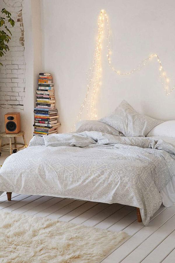 Boho bedroom twinkle lights