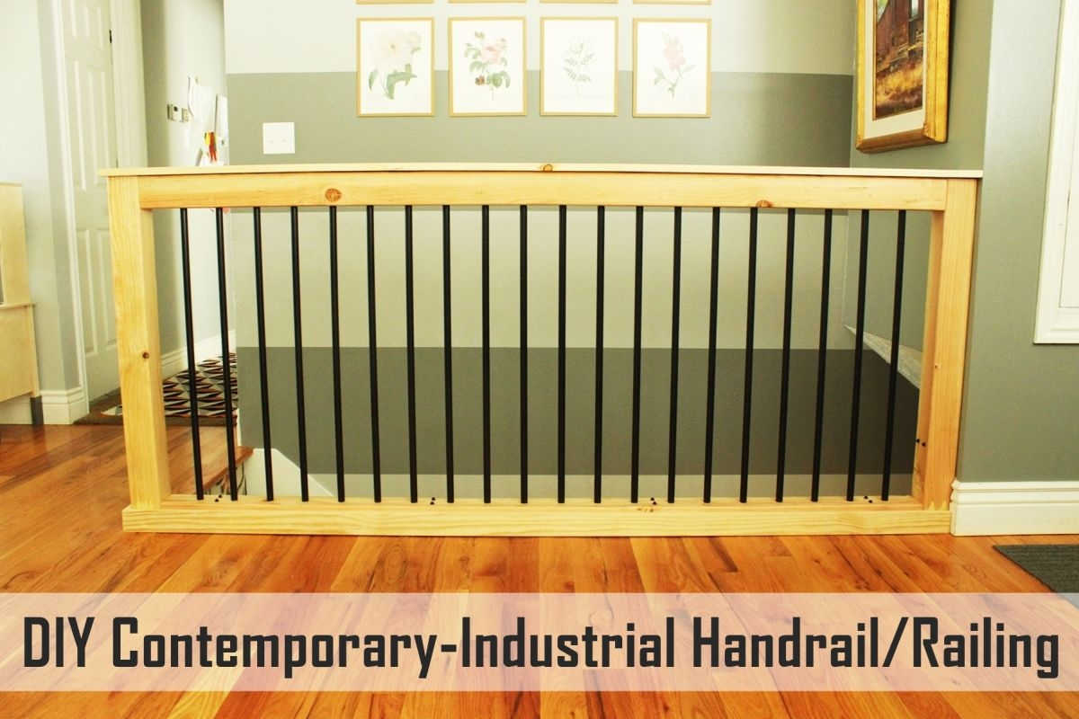 Diy Stair Handrail With Industrial Pipes And Wood | Wooden Banisters And Railings | Stairwell | Small | Industrial | Balcony | Dark Walnut