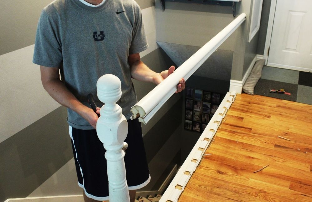 Diy Stair Handrail With Industrial Pipes And Wood   Top Of Stairs Banister   Indoor   Rail   Barn Wood   Residential   Different Color