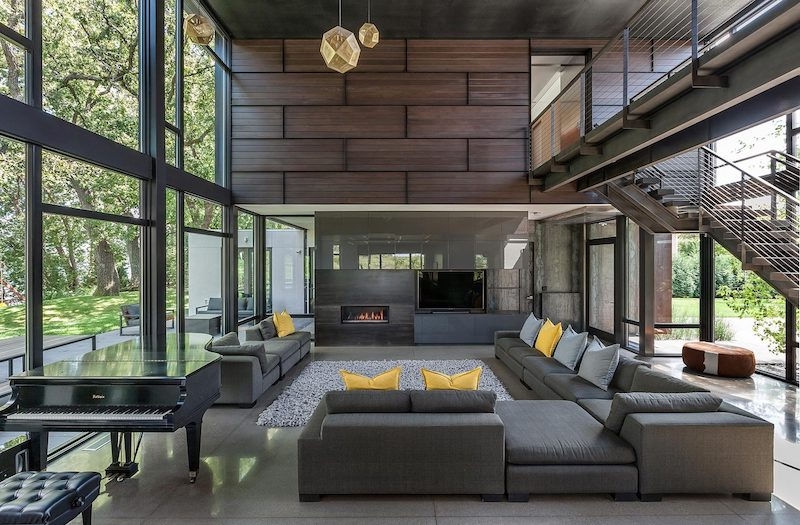 Modern-Industrial Lakeside House For A Family Of Eight