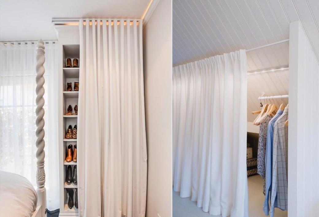 storage areas with closet curtains