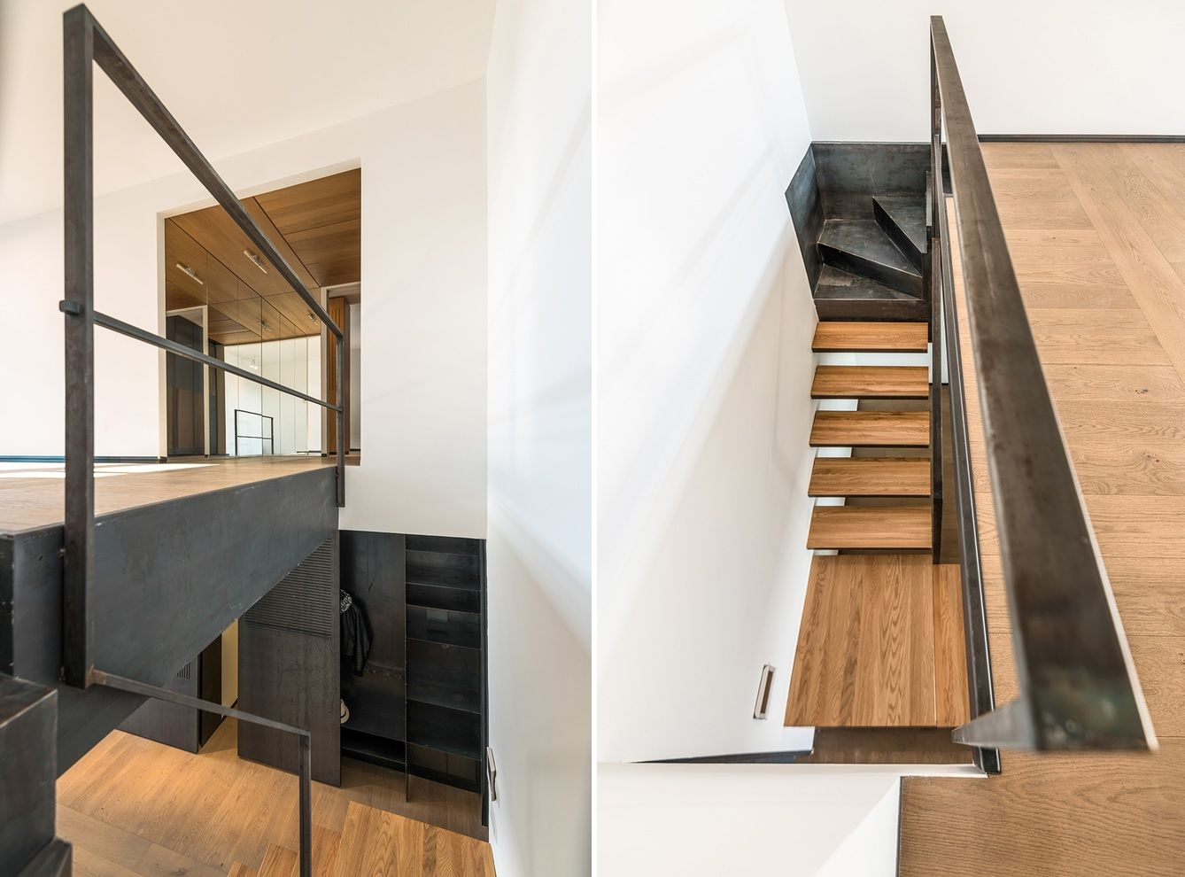 How To Choose The Stair Railing Height So Your Design Is Up To Code | Industrial Stair Railing Design | Industrial Style | All Metal Interior | Contemporary Metal | Small Stair | Detail Industrial