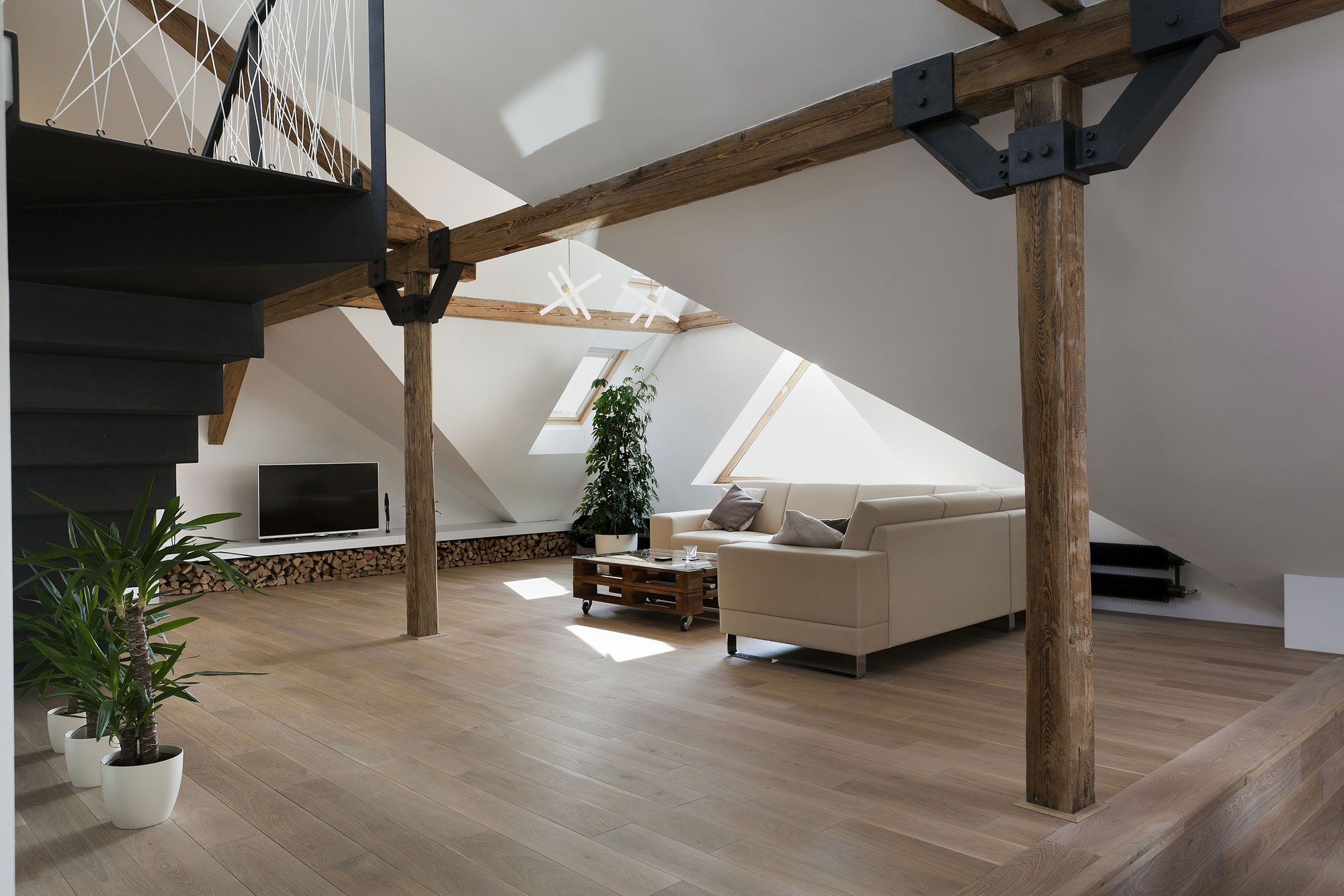 Attic Loft Reconstruction By B 178 Architecture