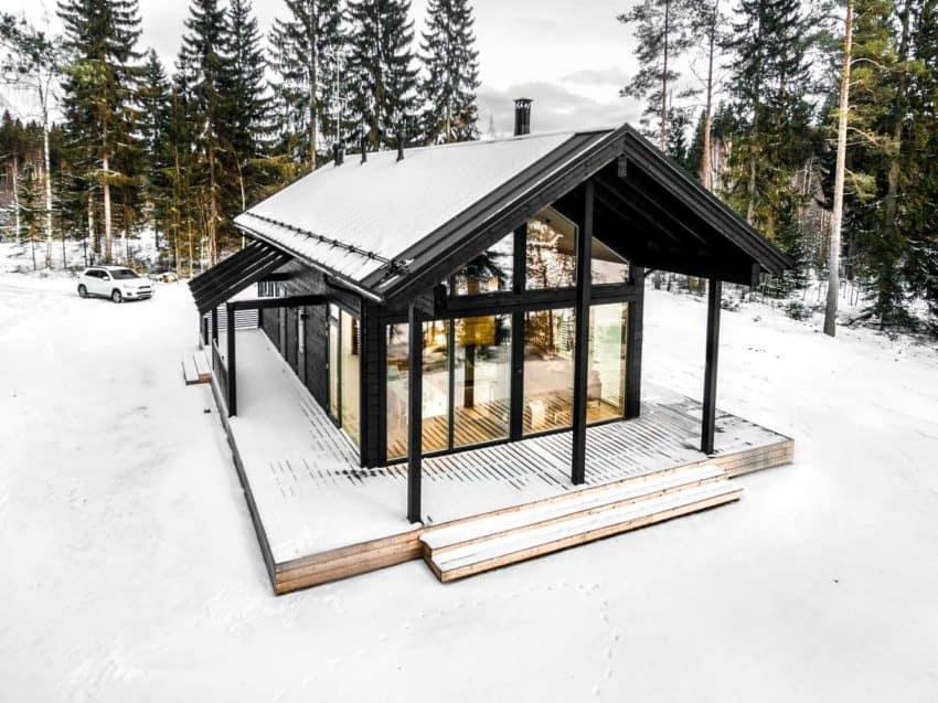 Modern Log Villa in Central Finland 02 850x637 Modern Log Villa in Central Finland by Pluspuu Oy Architect
