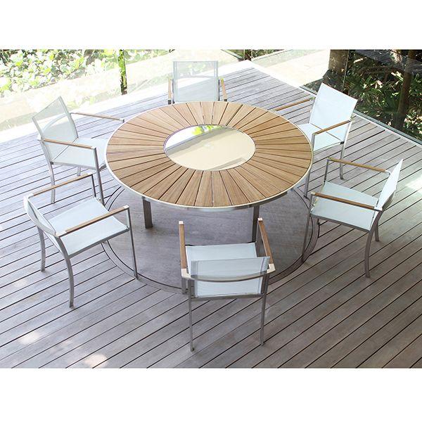 round teak patio dining table