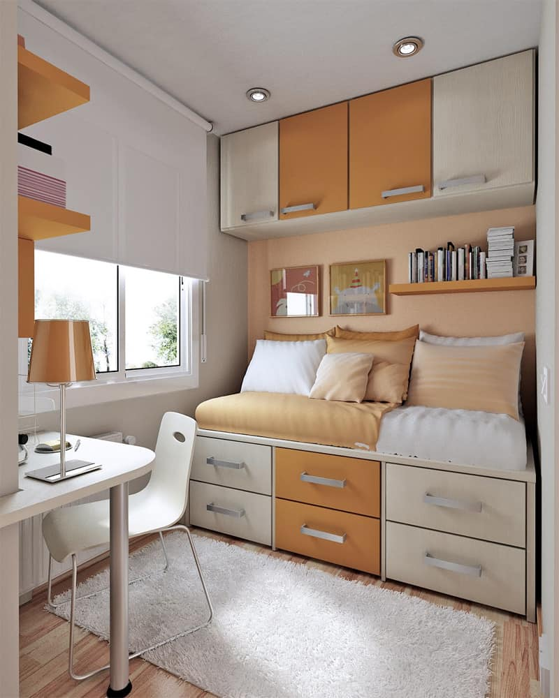 10 Tips on Small Bedroom Interior Design - Homesthetics ... on Bedroom Ideas For Small Rooms  id=81765