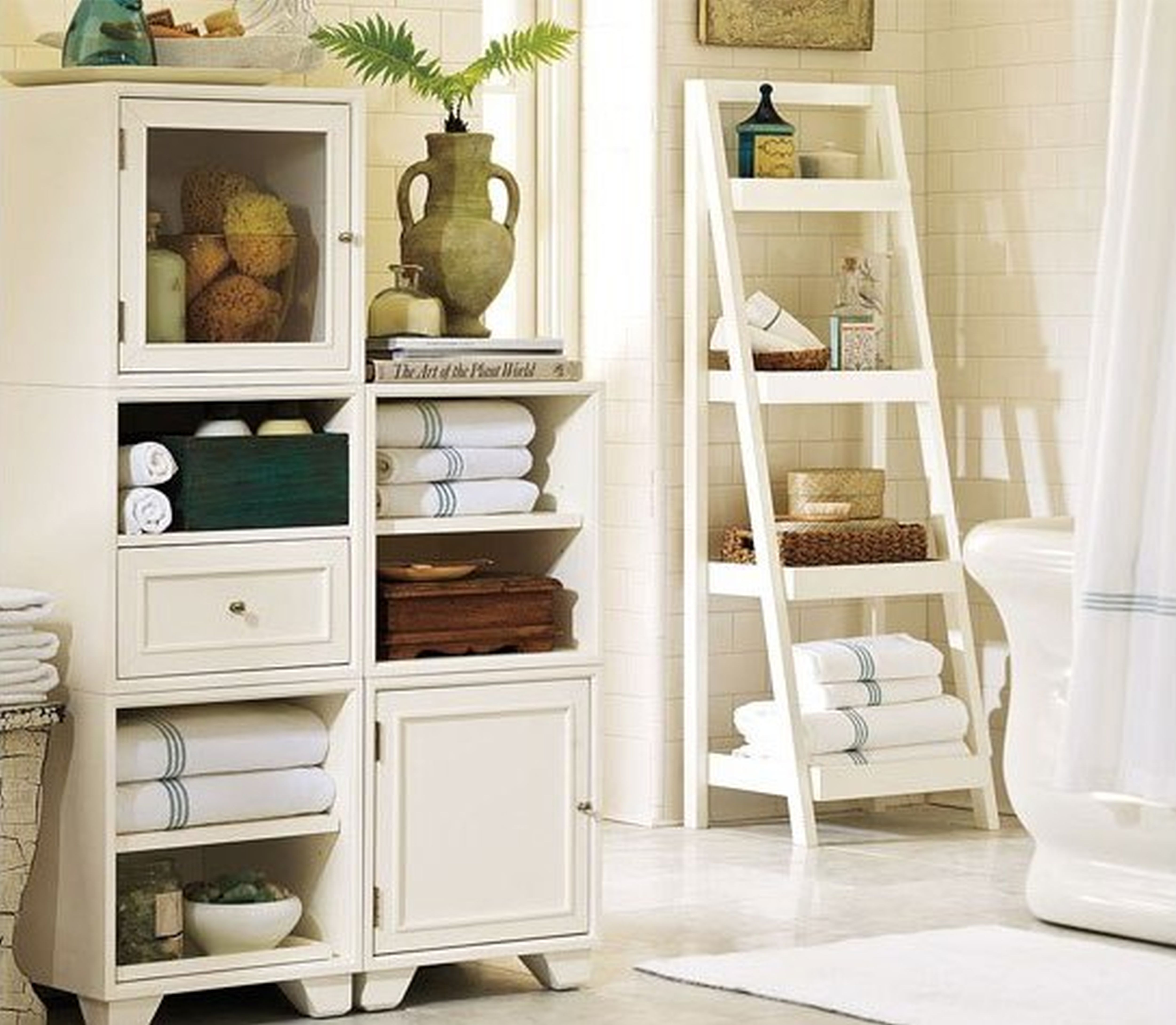 Add Glamour With Small Vintage Bathroom Ideas bathroom decor ideas use ladder shelves for storage
