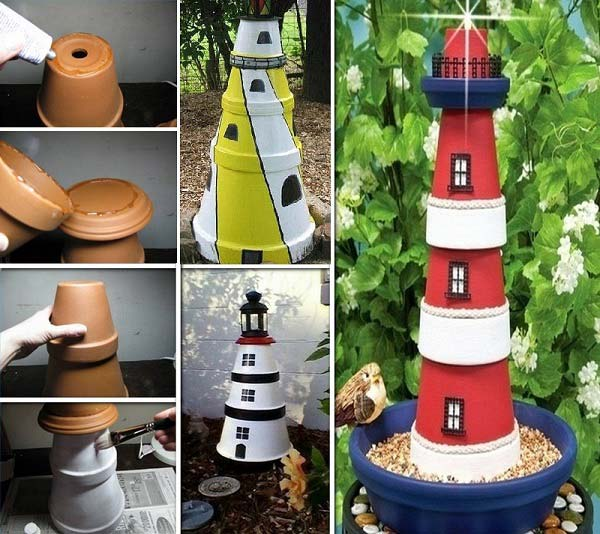 26 Beautiful Simple and Inexpensive Garden Projects Realized With Clay Pots homesthetics decor ideas (12)