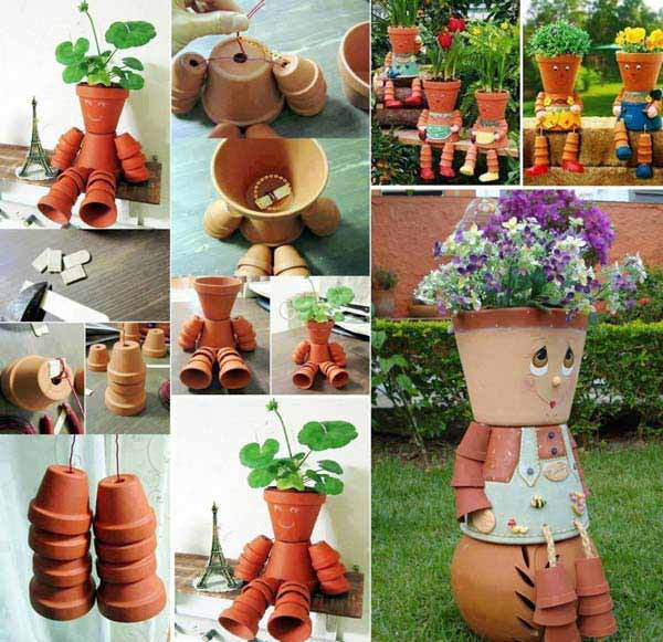 26 Beautiful Simple and Inexpensive Garden Projects Realized With Clay Pots homesthetics decor ideas (6)