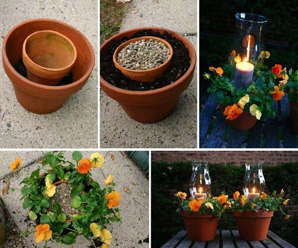26 Beautiful Simple and Inexpensive Garden Projects Realized With Clay Pots homesthetics decor ideas (9)