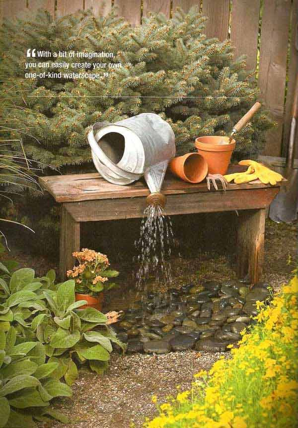 26 Wonderful Outdoor DIY Water Features Tutorials and ... on Small Backyard Water Features id=20007