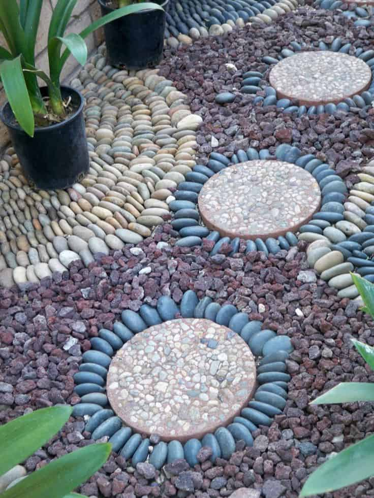29 Garden Pathway Pebble Mosaic Ideas For Your Home ... on Backyard Pebble Ideas id=33535