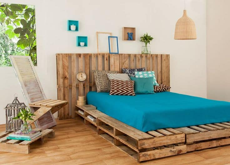Top 62 Recycled Pallet Bed Frames - DIY Pallet Collection on Bedroom Pallet Ideas  id=44147