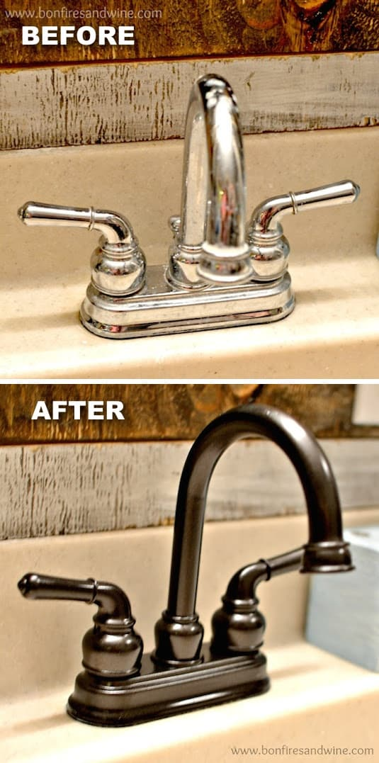 27 revamp old faucets with spray paint