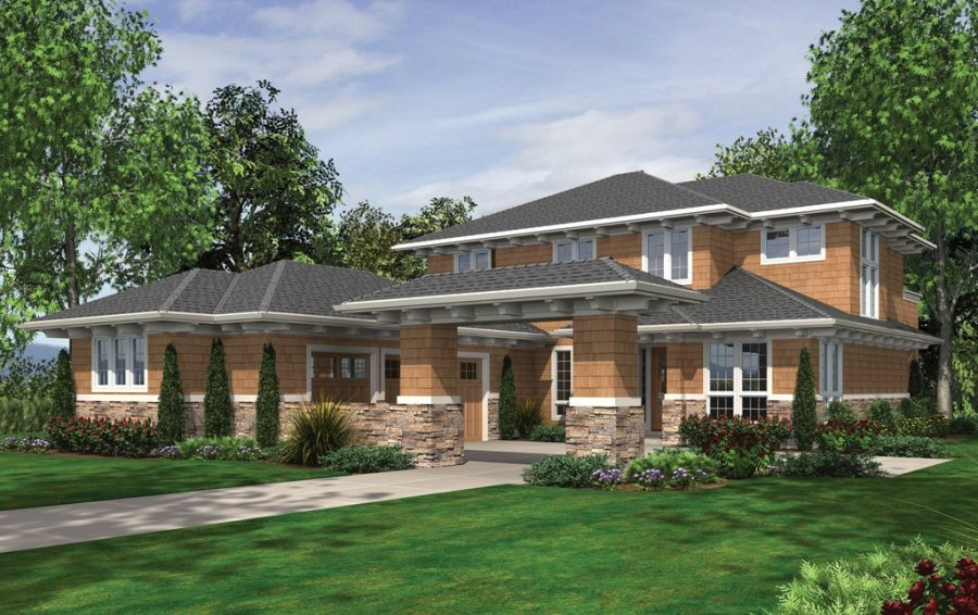 Prairie Style House Plan   4 Beds 3 5 Baths 4128 Sq Ft Plan  48 623     Prairie Exterior   Front Elevation Plan  48 623