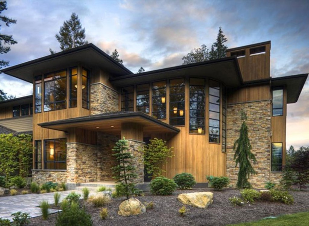 Modern Style House Plan   4 Beds 4 5 Baths 4750 Sq Ft Plan  132 221     Modern prairie style home by Washington State designer with big beautiful  master suite