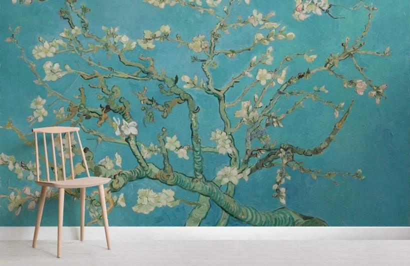 Decoro su misura nelle dimensioni della parete. Carta Da Parati Con Rami Di Mandorlo In Fiore Di Van Gogh Hovia It