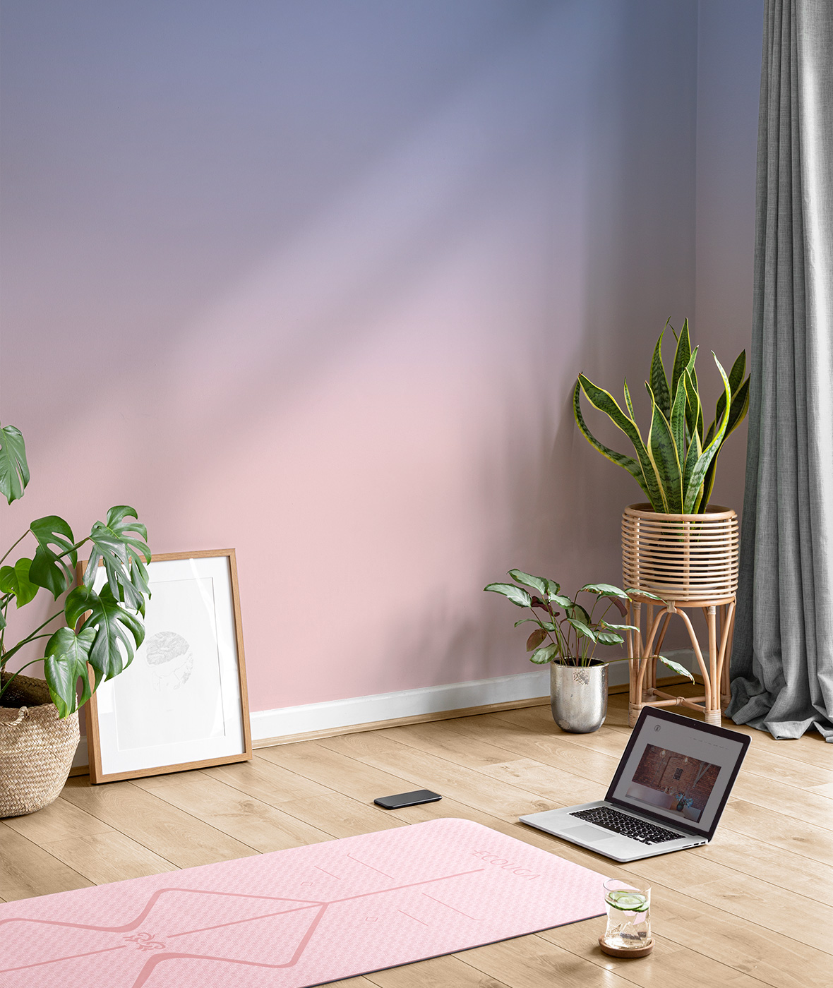 Walls are dulux pinkham and the stripes are in equatorial forest. 6 Inspiring Home Office Wallpaper Ideas To Suit Your Personality Hovia