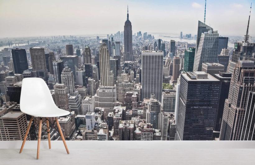 La nostra carta da parati fotografica panorama di new york è un'immagine in scala di grigi della vista urbana della stupenda e celeberrima città di new york e del fiume che la attraversa. Carta Da Parati Con Vista Aerea Di New York Hovia It
