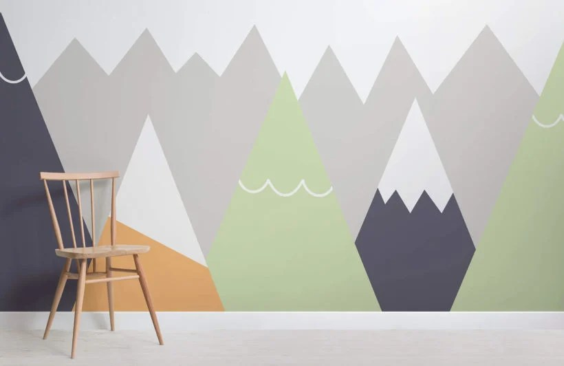 Kids Orange Lime Mountain Top Wallpaper Mural Hovia Au