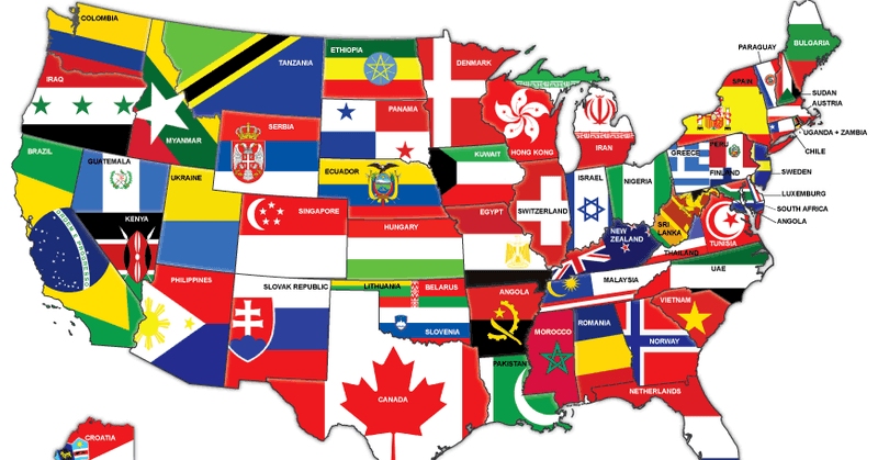 Map of the US redrawn as if the states were countries with