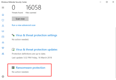 Enable Windows Defender Ransomware Protection in Windows 10