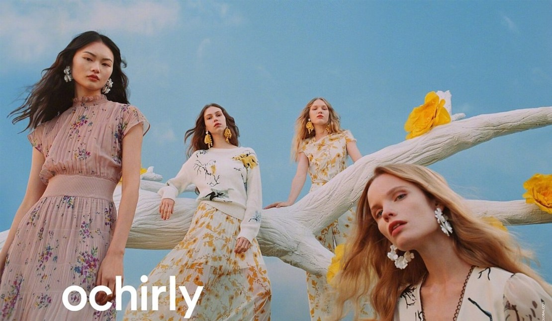 An ad for Ochirly, which has made a name for its feminine dresses.