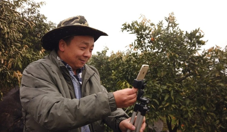 Zhong Haihui, a fruit farmer from central China's Hunan province, uses an iPhone 6, a small tripod and a power bank when recording live-streaming video for short video app Kuaishou and e-commerce platform Taobao Marketplace. Photo: SCMP/Chris Chang