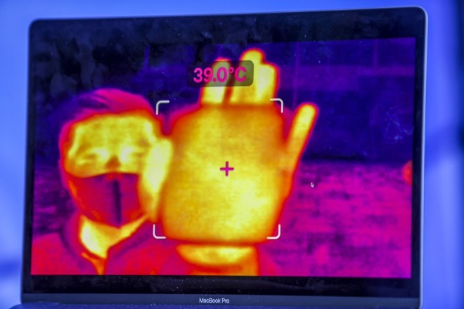 Each smart glass user at Hongyuan Park can record the infrared image and temperature reading of a person up to a distance of 1 metre, according to artificial intelligence start-up Rokid, developer of the non-contact thermal augmented reality device. Photo: Handout