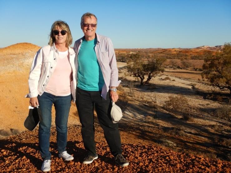 Maureen and Tony visit Anna Creek Painted Hills in Australia. Photo: Maureen and Tony Wheeler