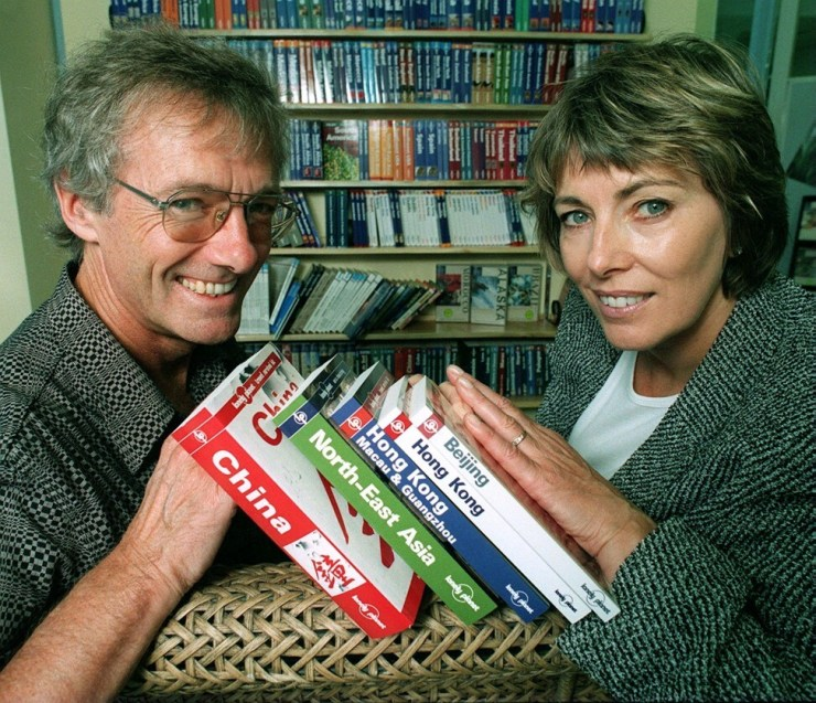 Tony and Maureen in 1998. The couple made travelling easier for tourists thanks to their Lonely Planet publications. Photo: Melbourne Herald