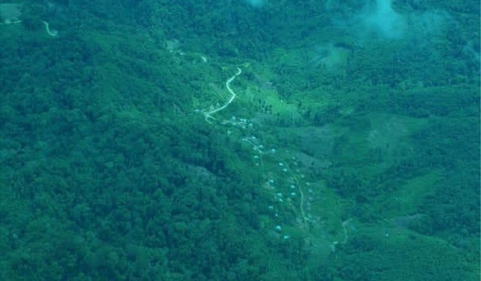 An aerial view of the remote village in Sigi regency. Photo: Handout