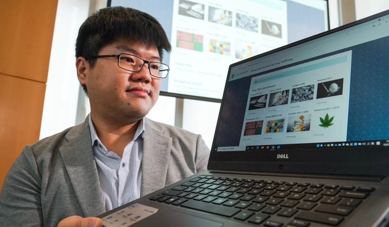 Research officer Michael Cheung introduces the new sentencing prediction tool on the University of Hong Kong campus. Photo: Sam Tsang